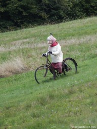 Czech grandma riding downhill